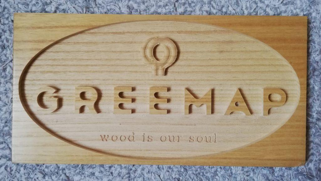 logo greemap madera de paulownia corte laser