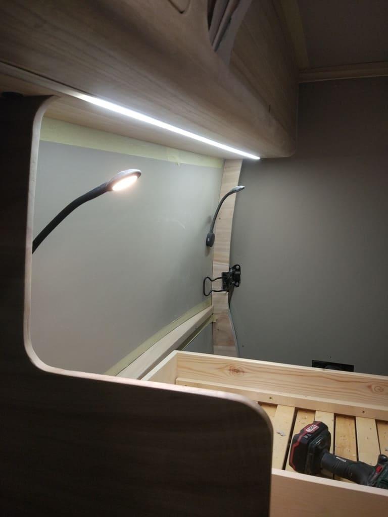 LED lights installed on the van