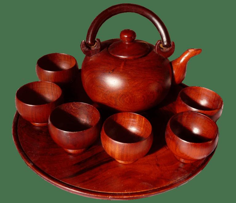 Mahogany Wood Tea Set
