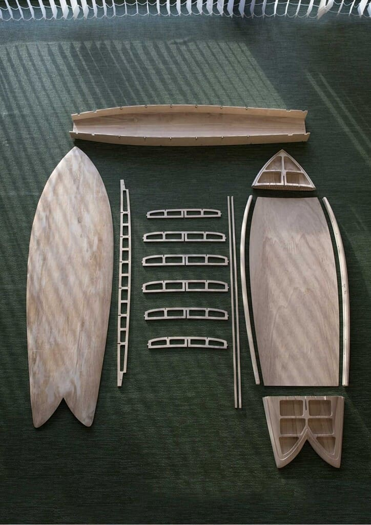 set tabla de surf paulonia