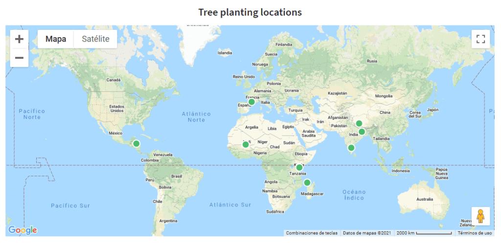 Localización de las plantaciones